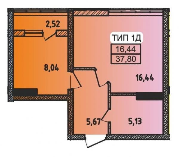 Планировки однокомнатных квартир 37.8 м^2
